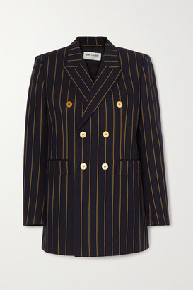 Saint Laurent Double-breasted Pinstriped Wool-twill Blazer - Navy