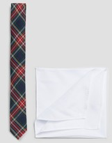 Asos Plaid Tie With White Pocket Square Pack
