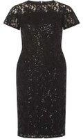 Dorothy Perkins Womens Black Sequin Lace Pencil Dress- Black