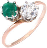 Estate Fine Jewelry Women's Art Deco Sugarloaf Moi Et Toi Ring