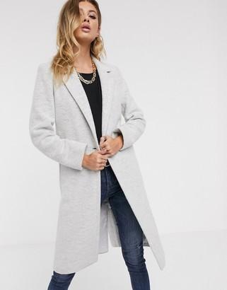 Helene Berman single button college coat in wool blend-Gray