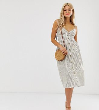 Influence Tall button down cami strap sun dress in stripe-Grey