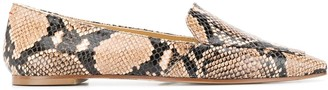 AEYDĒ Pointed Snakeskin Effect Flat Shoes