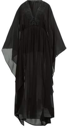 Dundas Bead Embellished Silk Georgette Kaftan - Womens - Black