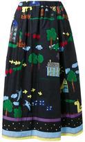 Muveil illustration print A-line skirt - women - Cotton - 36