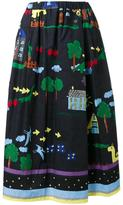 Muveil illustration print A-line skirt