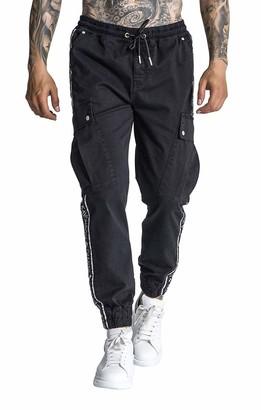 Gianni Kavanagh Men's Black GK Ribbon Cargo Pants Jeans XL