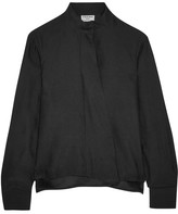 Frame Draped Silk-satin Blouse - Black