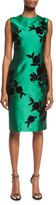 Sachin + Babi Sleeveless Embroidered Cocktail Dress, Emerald