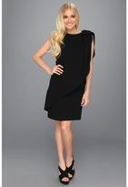 Tahari by Arthur S. Levine Tahari by ASL - Timothi Crepe Shift w/Bow at Shoulder Dress (Black) - Apparel