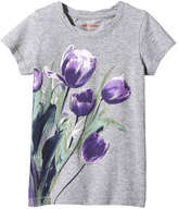 Joe Fresh Kid Girls' Twist Neck Graphic Tee, Grey Mix (Size L)