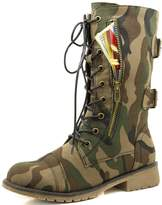 DailyShoes Military Lace Up Buckle Combat Boots Mid Knee High Exclusive Credit Card Pocket