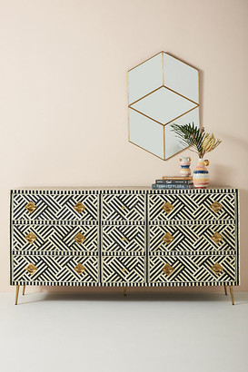 Anthropologie Optical Inlay Nine-Drawer Dresser By in Black Size ALL