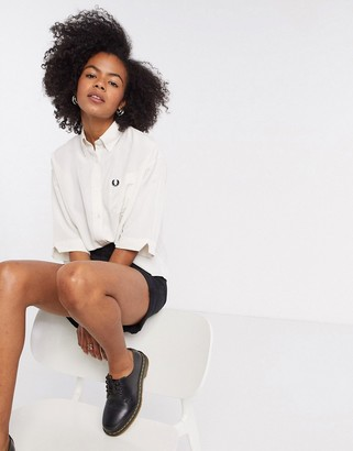 Fred Perry oversized boxy shirt in white