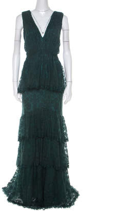 Tadashi Shoji Forest Green Tiered Lace Overlay Sleeveless Marquis Gown XL