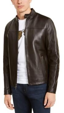 Michael Kors Men's Leather Racer Jacket, Created for Macy's