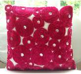 The HomeCentric Vintage Joy - 22x22 inches Decorative Pink Silk Pillow Covers with Satin Ribbon Embroidery