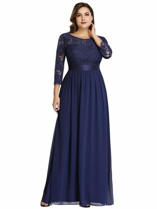Ever Pretty Ever-Pretty Women's A Line 3/4 Sleeves Round Neck Lace Floor Length Elegant Plus Size Evening Dress Navy Blue 24UK