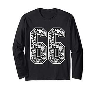 Polynesian Tattoo Number 66 Sports Fan Dark Long Sleeve T-Shirt