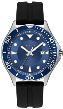 Caravelle Designed by Bulova Men's Black Silicone Strap Watch 42mm