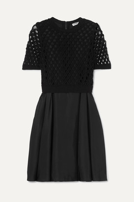 Kenzo Layered Satin And Crocheted Cotton-blend Dress - Black
