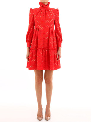 Celine Red Dress Dot Print