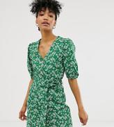 Monki ditsy floral print mini tie waist shirt dress in green
