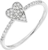 Bony Levy BL Icons 18K White Gold Pave Diamond Heart Shape Ring - Size 7 - 0.12 ctw