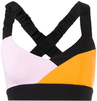 NO KA 'OI No Ka' Oi tri-colour ruched-strap sports bra