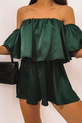 I SAW IT FIRST Emerald Green Satin Bardot Frill Playsuit
