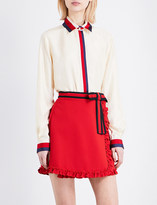 Gucci Ribbon-trimmed silk-twill blouse