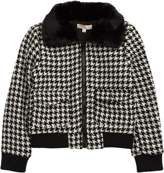 Truly Me Kids' Icon Houndstooth Faux Fur Collar Jacket