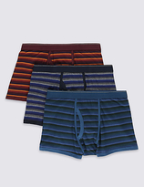 M&s Collection 3 Pack 4-way Stretch Cotton Cool & Freshtm Orange Ombre Trunks With Staynewtm