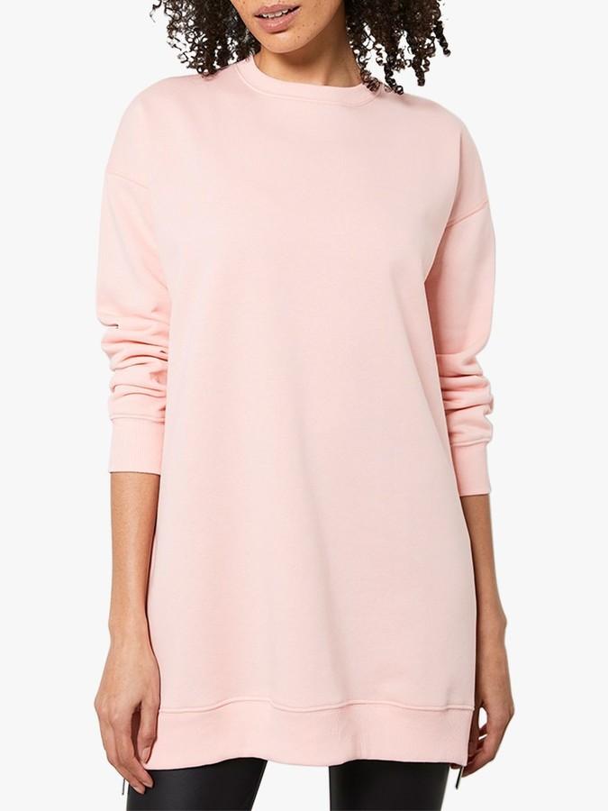 Mint Velvet Longline Zip Sweatshirt, Coral