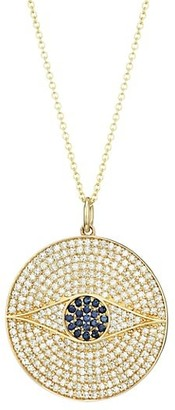 Nina Gilin 14K Yellow Gold, Diamond Pave & Sapphire Evil Eye Medallion Necklace