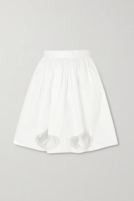 Christopher Kane Pleated Broderie Anglaise Cotton-poplin Mini Skirt - White