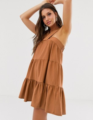 Asos Design DESIGN twist front mini trapeze sundress-Brown
