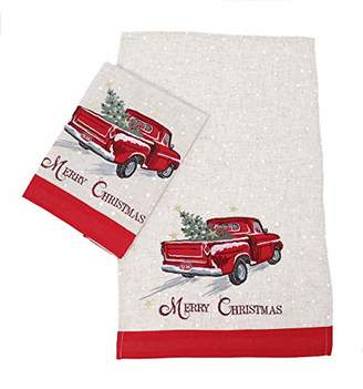 Manor Luxe Merry Christmas Truck Decorative Towels