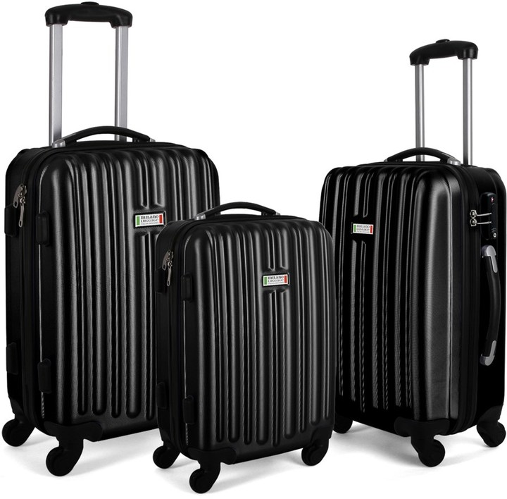 Milano ABS Luxury Shockproof Luggage 3 Piece Set Black