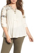 Lucky Brand Plus Size Women's Embroidered Lace-Up Top