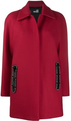Love Moschino Single-Breasted Press Stud Coat
