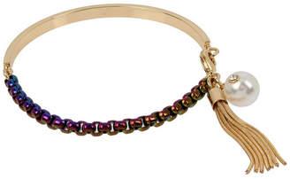 BCBGeneration Rainbow Link Tassel Charm Bangle Bracelet