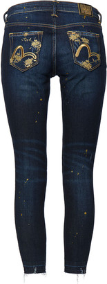Evisu Skinny-fit Jeans With Calendula And Seagull Embroidery