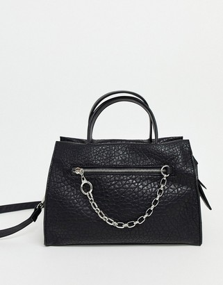 Asos Design DESIGN casual tote with chain pocket detail-Black