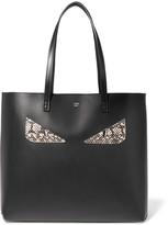 Fendi Elaphe-trimmed Leather Tote - Black