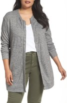 Sejour Plus Size Women's Cozy Zip Cardigan