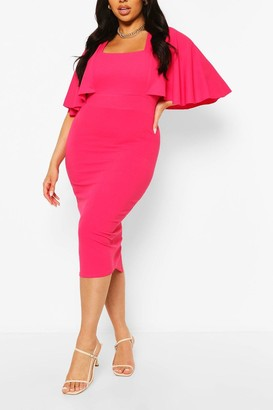 boohoo Plus Cape Sleeve Square Neck Midi Dress