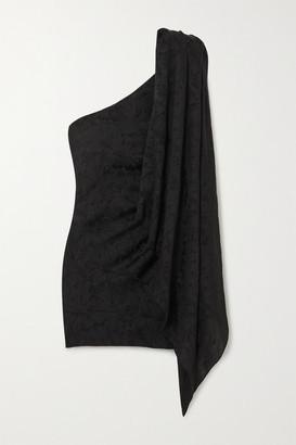NERVI Bianca B One-sleeve Draped Floral-jacquard Mini Dress - Black