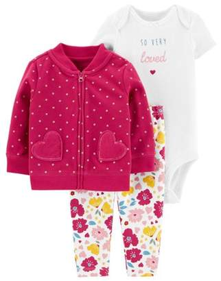 Carter's Child Of Mine By Child of Mine by Baby Girl Long Sleeve Cardigan, Short Sleeve Bodysuit, and Pant Outfit Set, 3 pc set