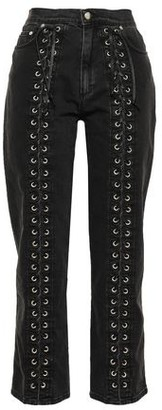 McQ Cropped Lace-up High-rise Straight-leg Jeans